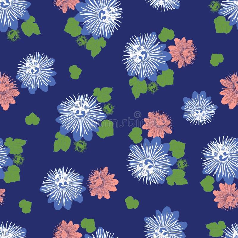 Indigoblå blå sömlös modell för vektor med sidor och den lösa blomman Passande för textil, gåvasjal och tapet royaltyfri illustrationer