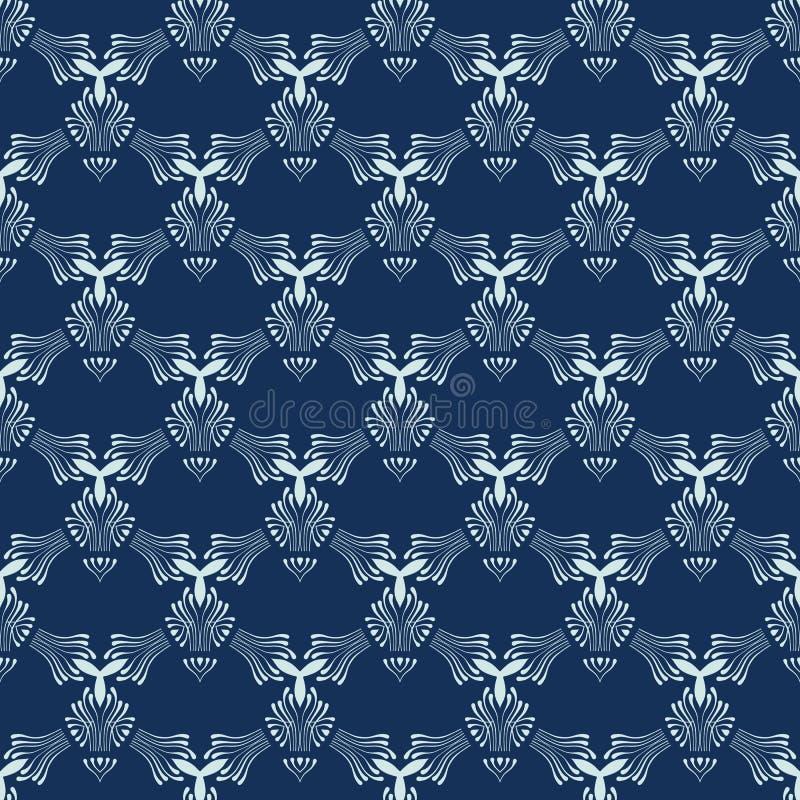 Indigoblå blå Sashiko sömlös vektormodell Utdragen japansk stil för hand vektor illustrationer