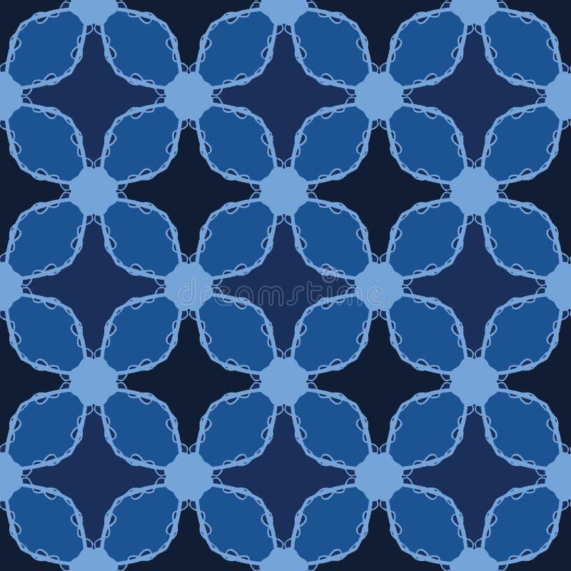 Indigoblå blåa former för mosaiktegelplatta S?ml?s bakgrund f?r vektormodell För utdraget geometriskt grafisk illustration täcker royaltyfri illustrationer