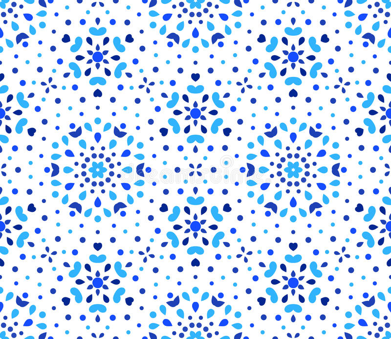 Indigoblå Dots Blue Flower Pattern stock illustrationer