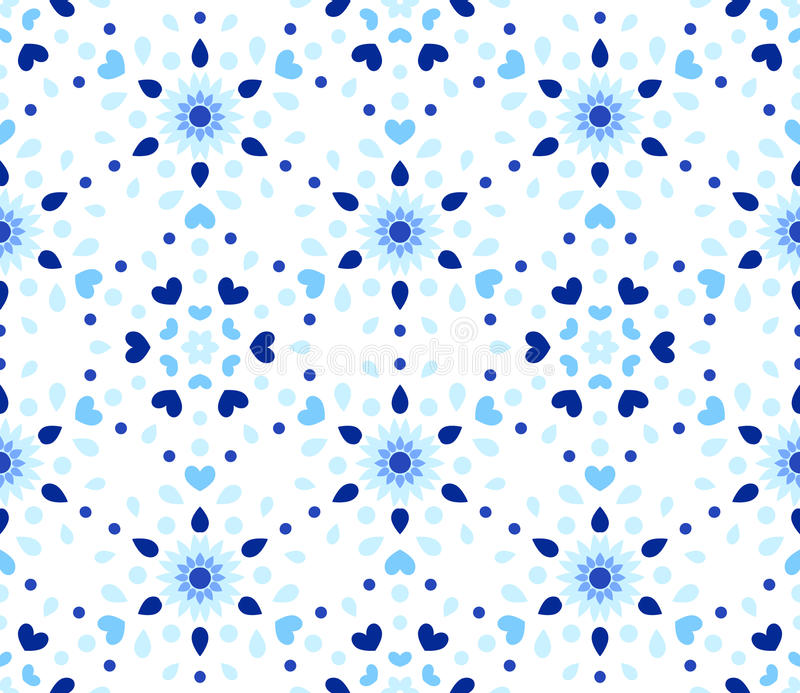 Indigoblå Dots Hearts Blue Flower Pattern vektor illustrationer
