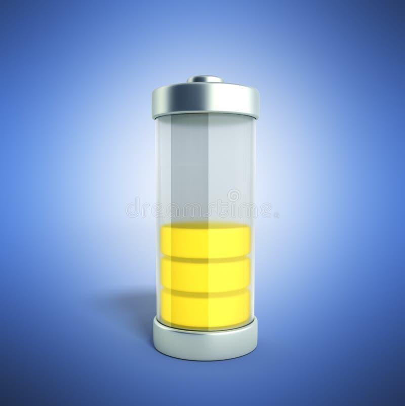 Indikatorer för laddning för batteriuppladdningsbatteri jämna på blått 3d vektor illustrationer
