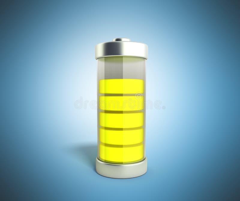 Indikatorer för laddning för batteriuppladdningsbatteri jämna på den blåa illuen 3d stock illustrationer