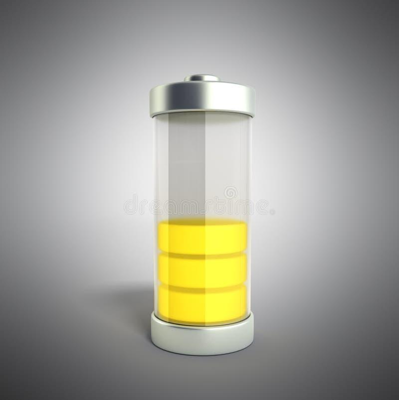 Indikatorer för laddning för batteriuppladdningsbatteri jämna på den gråa illuen 3d stock illustrationer