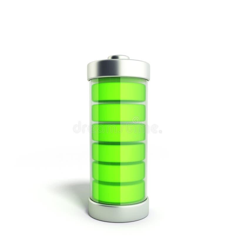 Indikatorer för laddning för batteriuppladdningsbatteri jämna på vit 3d dåligt vektor illustrationer