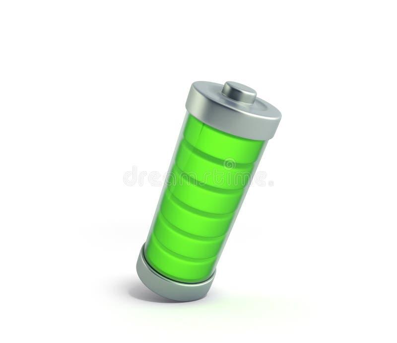 Indikatorer för laddning för batteriuppladdningsbatteri jämna på vit 3d dåligt stock illustrationer