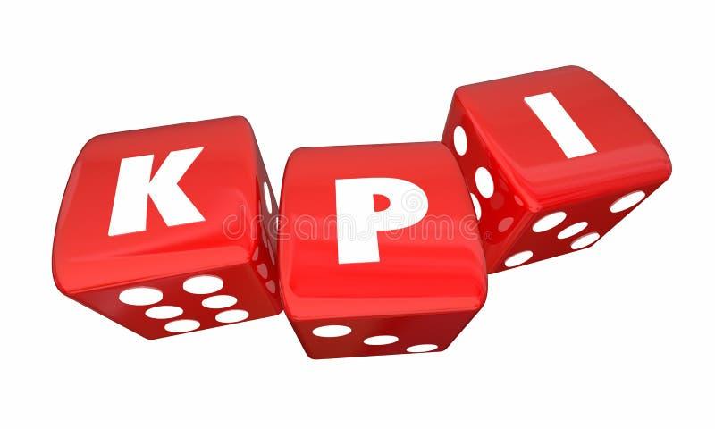 Indikatorer KPI för nyckel- kapacitet 3 rullande tärning vektor illustrationer