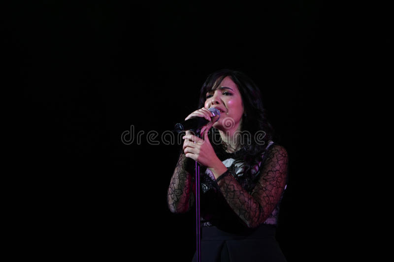 Indila Concert. France's Adila Sedraia, commonly known under her stage name Indila, perform at Palace Hall, in Bucharest, Romania, Sunday, 07 December royalty free stock photos