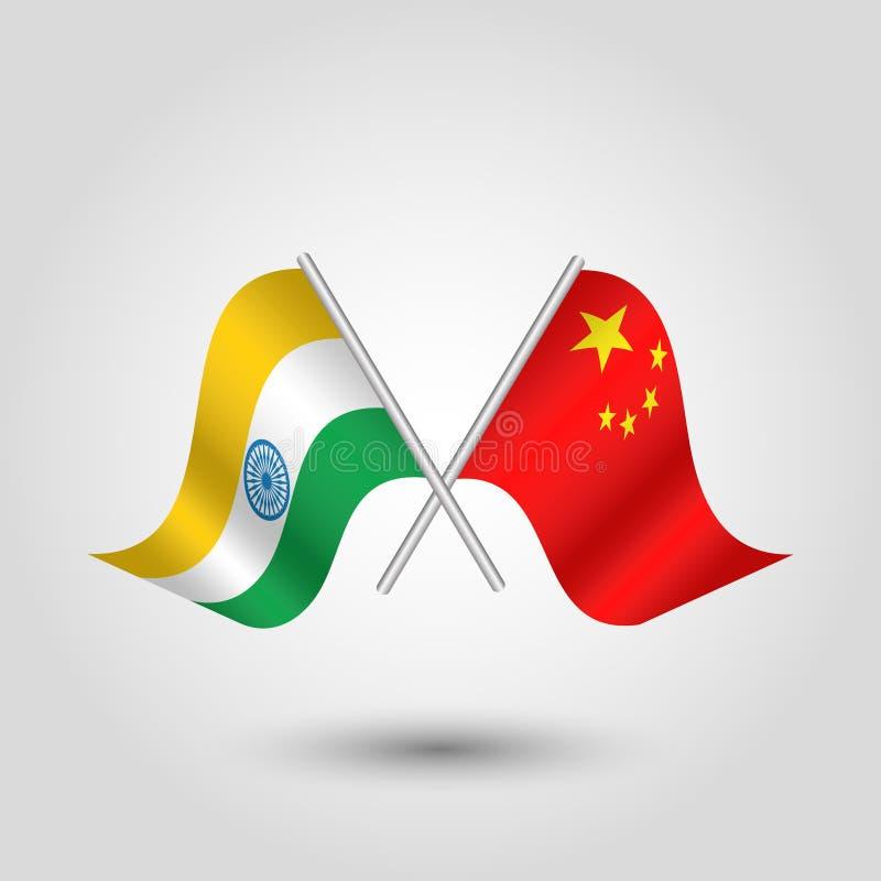 Indio cruzado y banderas chinas en los palillos de plata - símbolo de la India y de República Popular China ilustración del vector