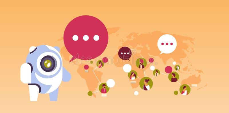Indio indio del concepto de la inteligencia artificial de la conexión de la comunicación global del avatar de la gente de la burb ilustración del vector