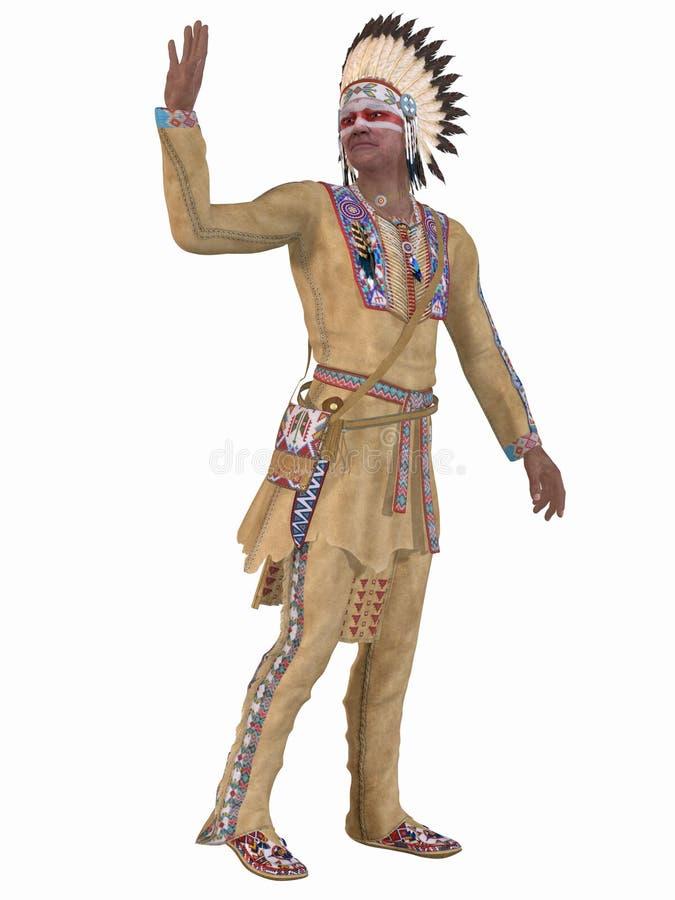 Indio del nativo americano - Cheyenne stock de ilustración