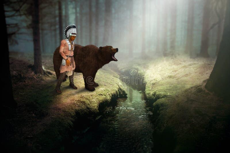 Indio del nativo americano, oso grizzly, naturaleza, fauna stock de ilustración
