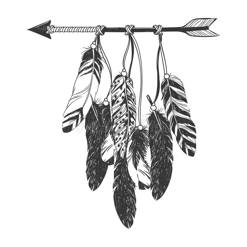 Indio Dreamcatcher del nativo americano con las plumas stock de ilustración