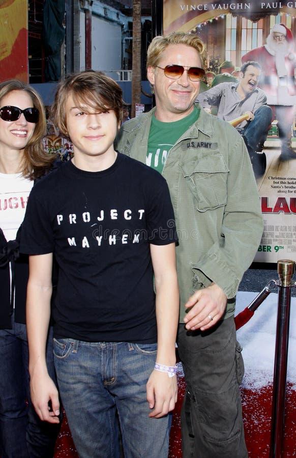 Indio Falconer Downey, Robert Downey Jr en Susan Downey royalty-vrije stock foto