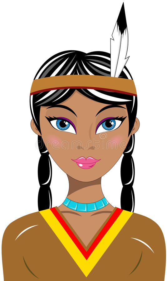 Indio hermoso del nativo americano del retrato de la mujer stock de ilustración