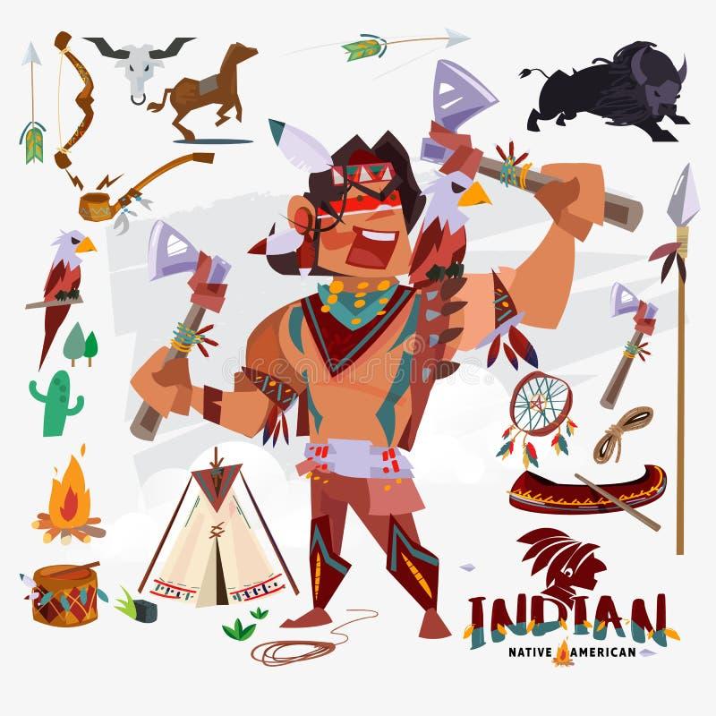 Indio o nativo americano con el traje tradicional, arma, herramienta ilustración del vector