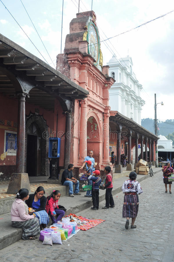 Indios at the town hall of Chchicastenango stock photography