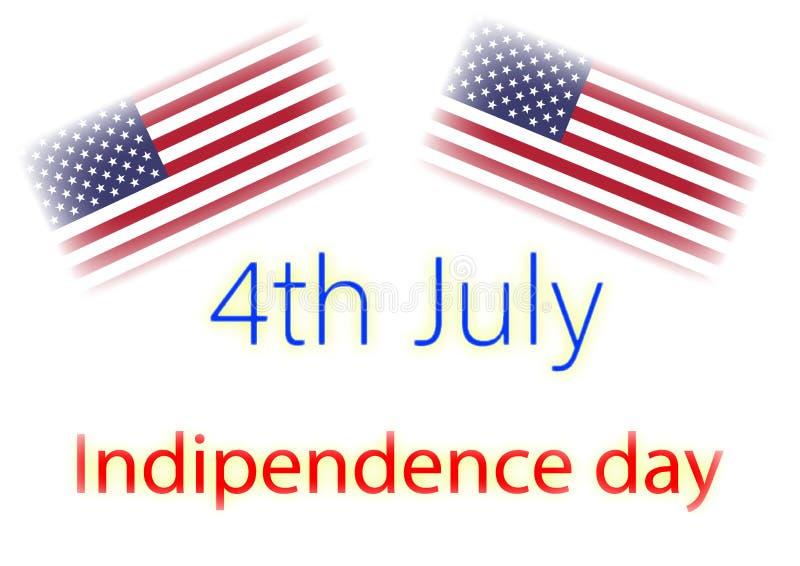 Indipendence dzień pisze z usa flagami ilustracyjnymi zdjęcie stock