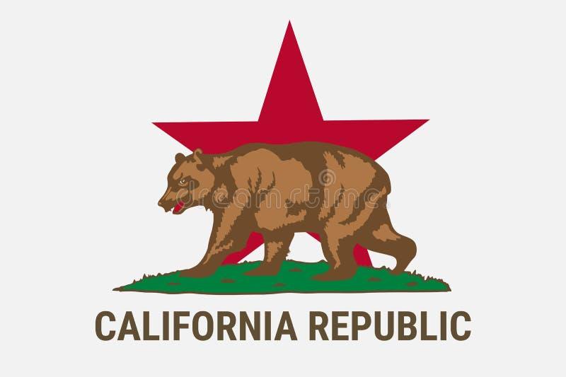 Indique a bandeira da república de Califórnia com urso marrom ilustração royalty free