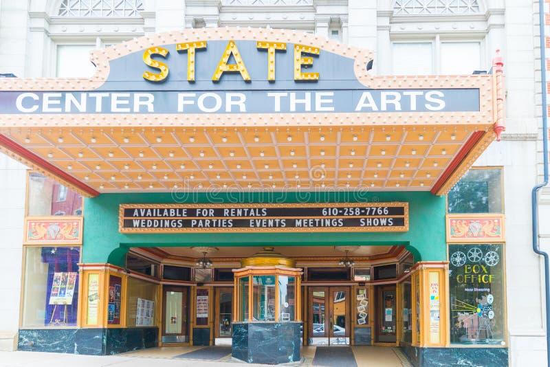 Indique el centro para el frente de Easton del teatro de artes, PA imágenes de archivo libres de regalías