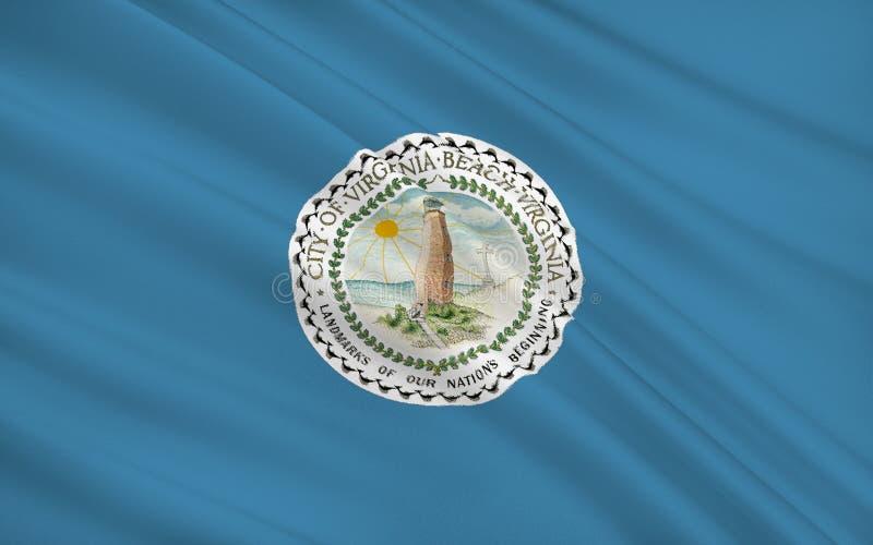 Indique la bandera de Virginia Beach - una ciudad en los Estados Unidos, lugares geométricos stock de ilustración
