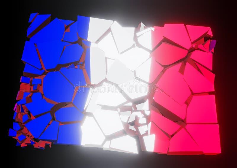 Indique o colapso França, francês, bandeira 3d rendida ilustração royalty free