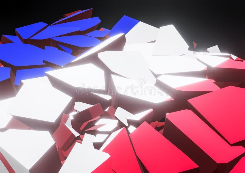 Indique o colapso França, francês, ilustração da bandeira 3d rendida ilustração royalty free