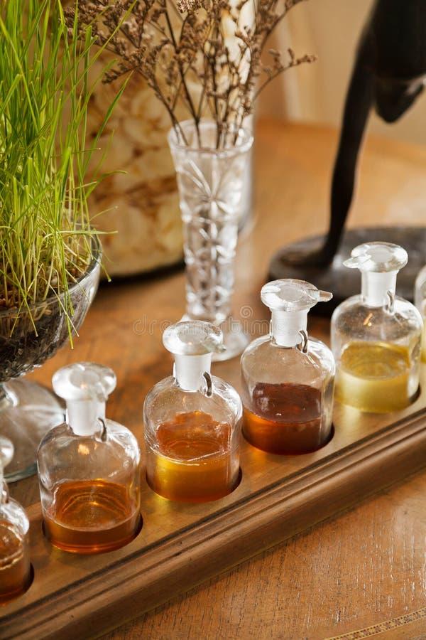 Indique uma fileira de garrafas dos termas da aromaterapia imagem de stock