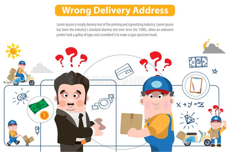 Indirizzo di consegna sbagliato illustrazione di stock