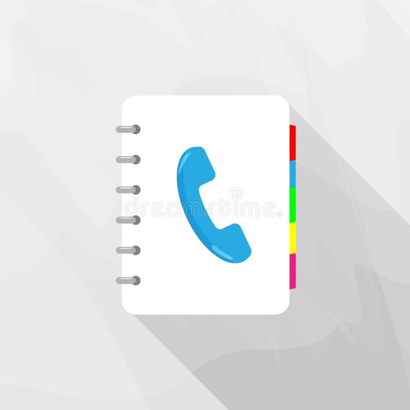 Indirizzo & guida telefonica Vector l'icona di un taccuino per il telefono di registrazione NU illustrazione di stock