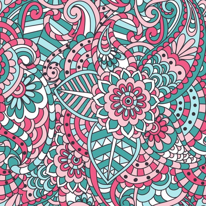 Indisch Bloemen Naadloos Patroon stock illustratie