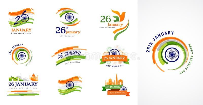 Indisch de Dagconceptontwerp van de Republiek, banner, affiche en embleem vector illustratie