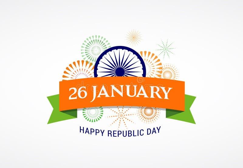 Indisch de Dagconceptontwerp van de Republiek, banner, affiche en embleem stock illustratie