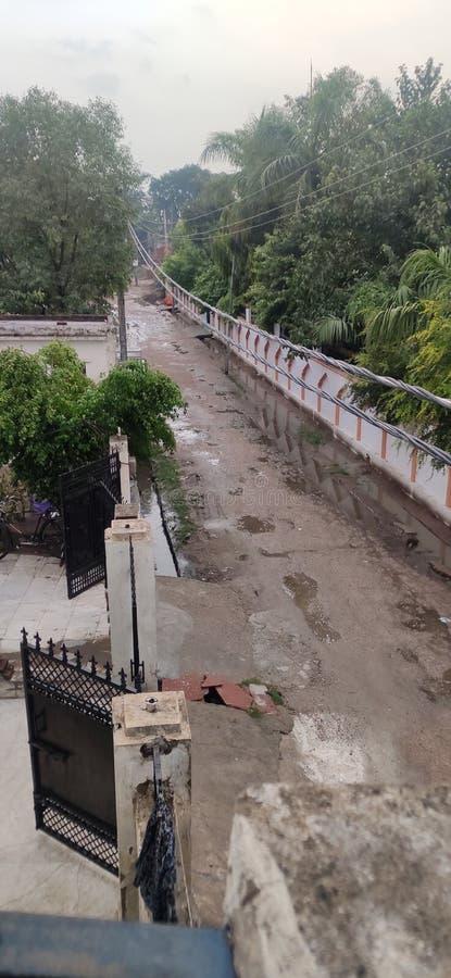 Indisch Dorp in moesson stock fotografie