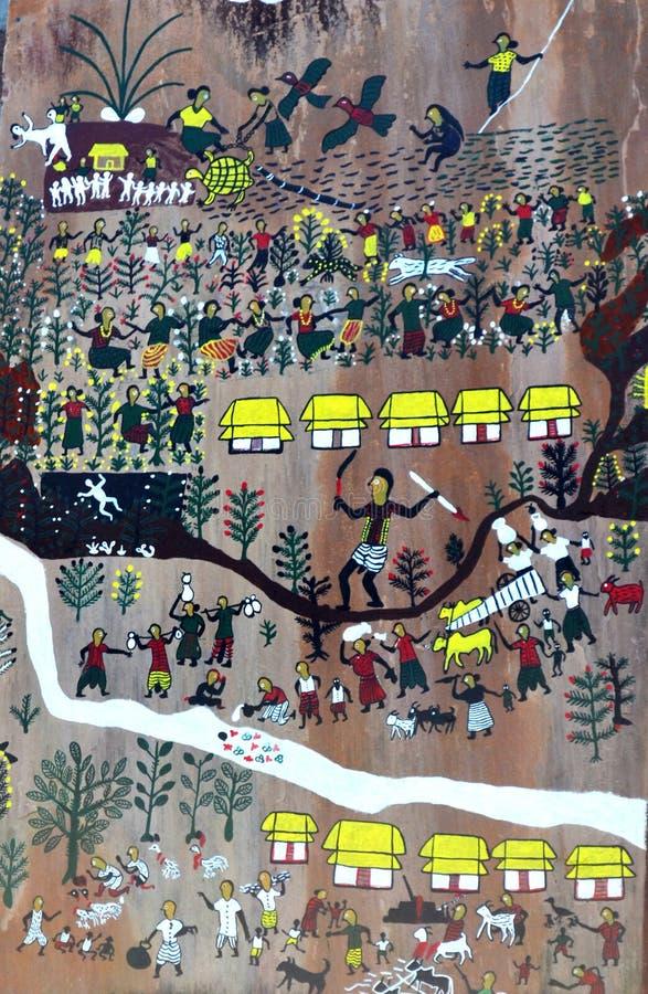 Indisch fijn kunstmuurschilderij royalty-vrije stock foto