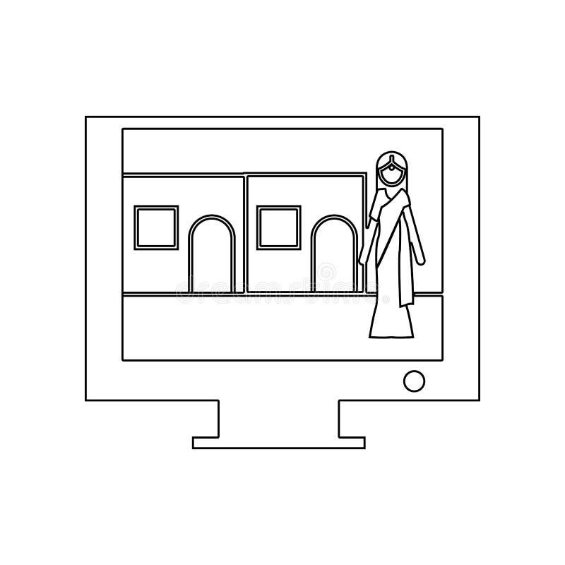 Indisch filmpictogram Element van India voor mobiel concept en webtoepassingenpictogram Overzicht, dun lijnpictogram voor website vector illustratie