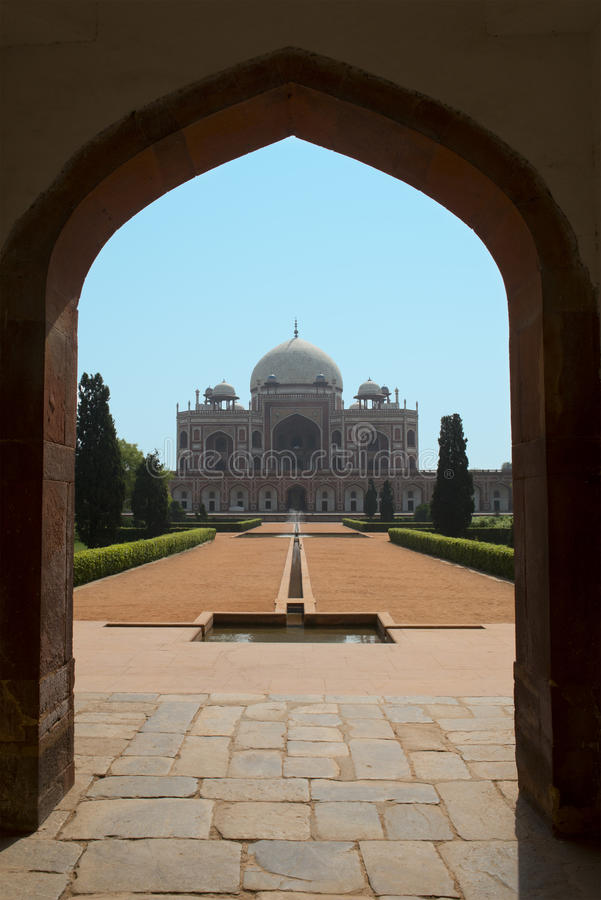 Indisch het grafmausoleum van Delhi Humayun. Reis naar India royalty-vrije stock foto's