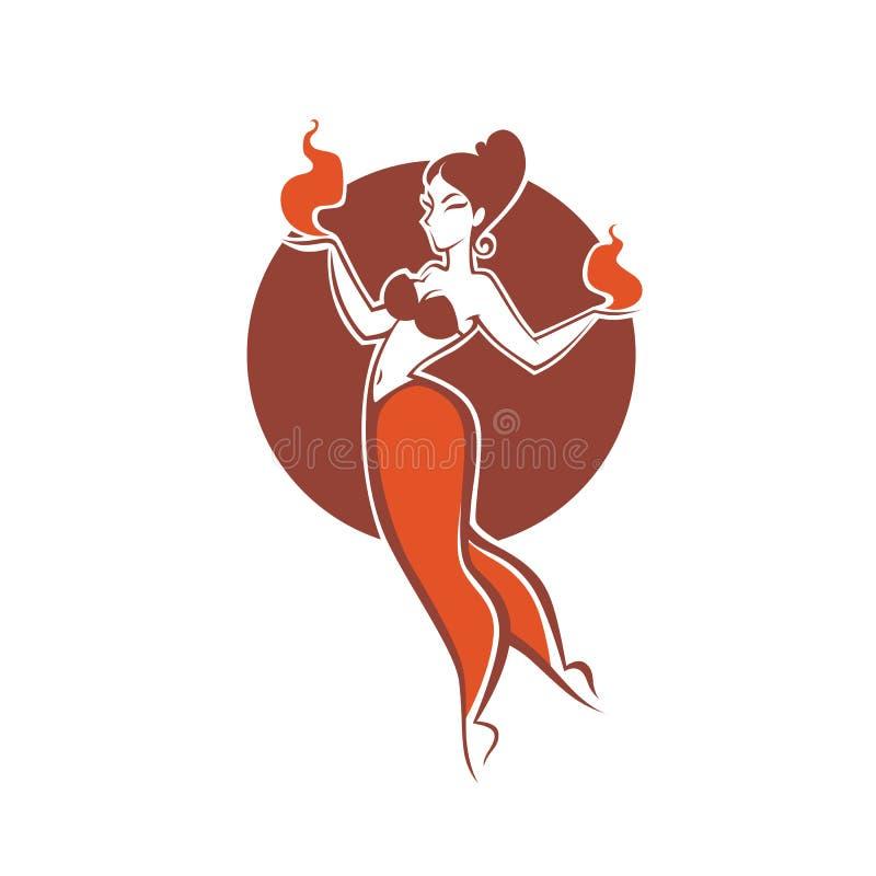 Indisch meisje die met brand, beeld voor uw embleem dansen, etiket, royalty-vrije illustratie
