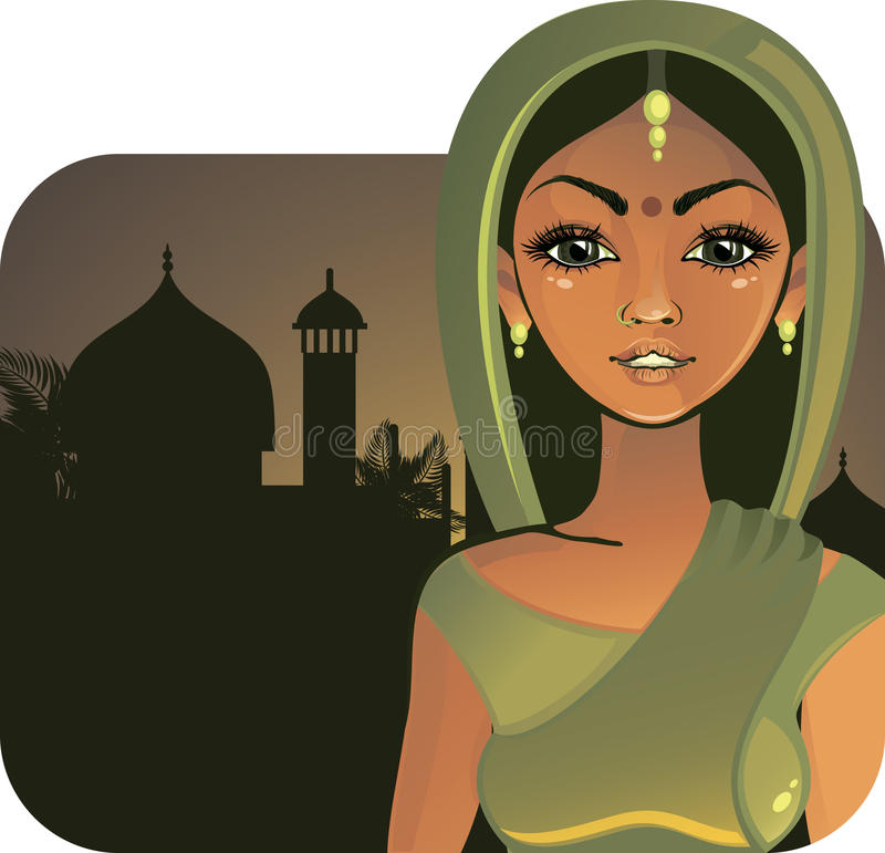Indisch meisje (vector) vector illustratie