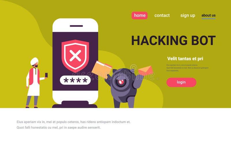 Indisch mensen onjuist wachtwoord die bot app van de de controle mobiele veiligheid van conceptensmartphone toegangs horizontale  vector illustratie