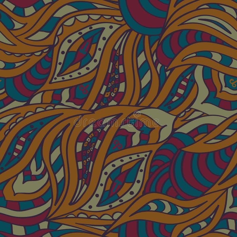 Indisch naadloos patroon Gestileerde kleur van henna vector illustratie