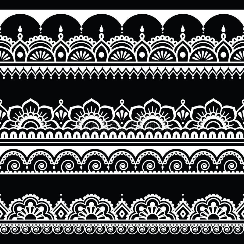 Indisch naadloos patroon, ontwerpelementen - Mehndi-tatoegeringsstijl stock illustratie