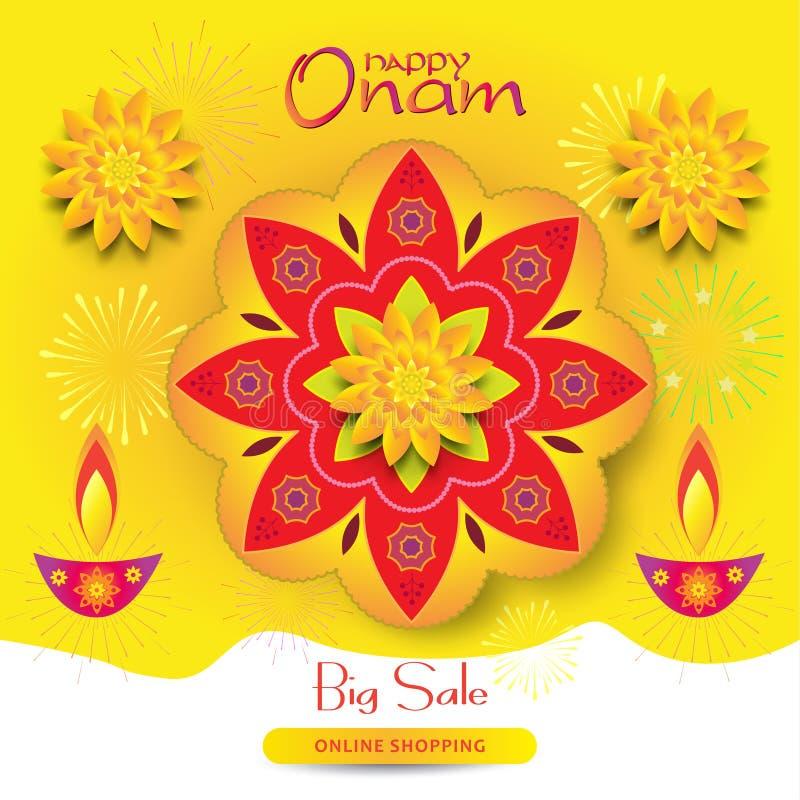 Indisch Onam-festival in de verkoopbanner India van Kerala vector illustratie