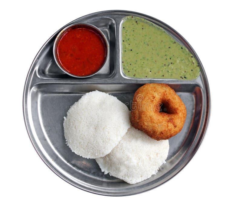 Indisch ontbijt - nutteloos sambar vada en chutney royalty-vrije stock foto's