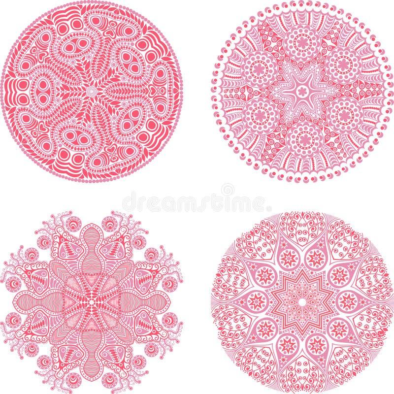 Indisch ornament, caleidoscopisch bloemenpatroon, mandala Reeks van F vector illustratie