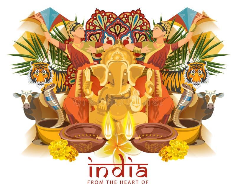Indisch reismalplaatje Van het hart van India Vector illustratie in uitstekende stijl royalty-vrije illustratie