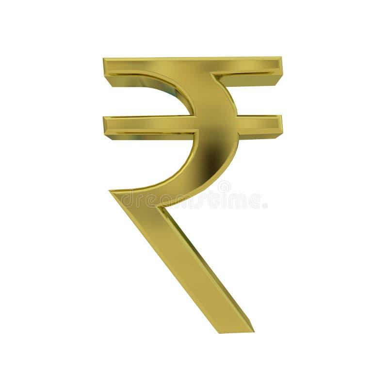 Indisch Roepie gouden die symbool op wit wordt geïsoleerd royalty-vrije illustratie