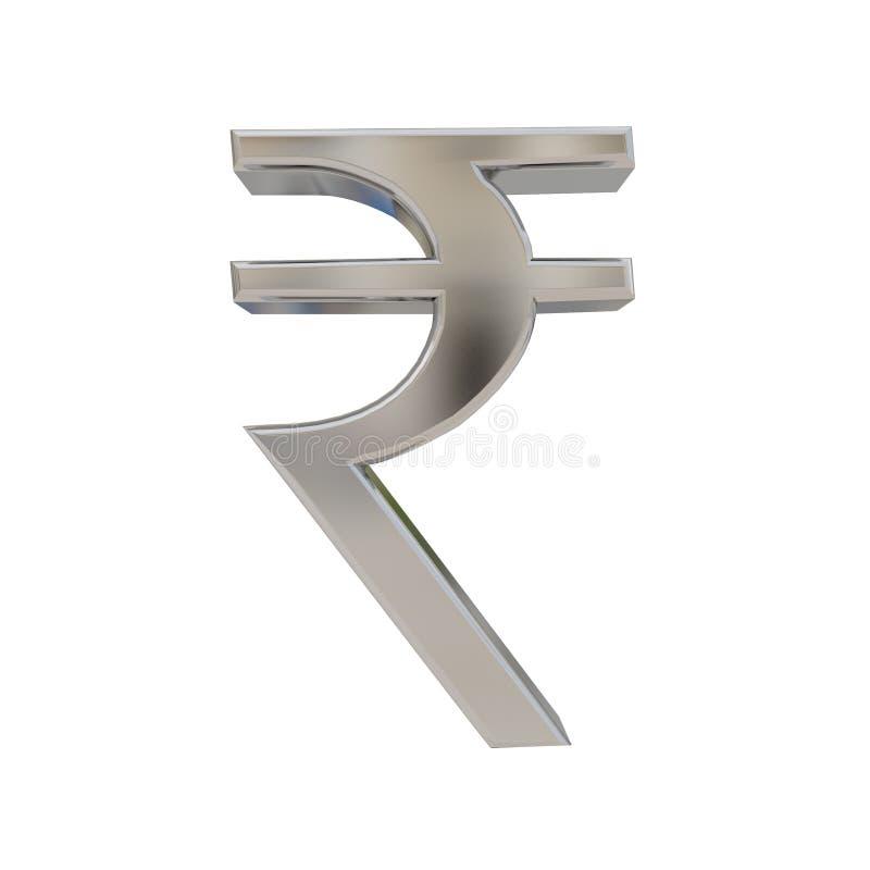 Indisch Roepie zilveren die symbool op wit wordt geïsoleerd stock illustratie