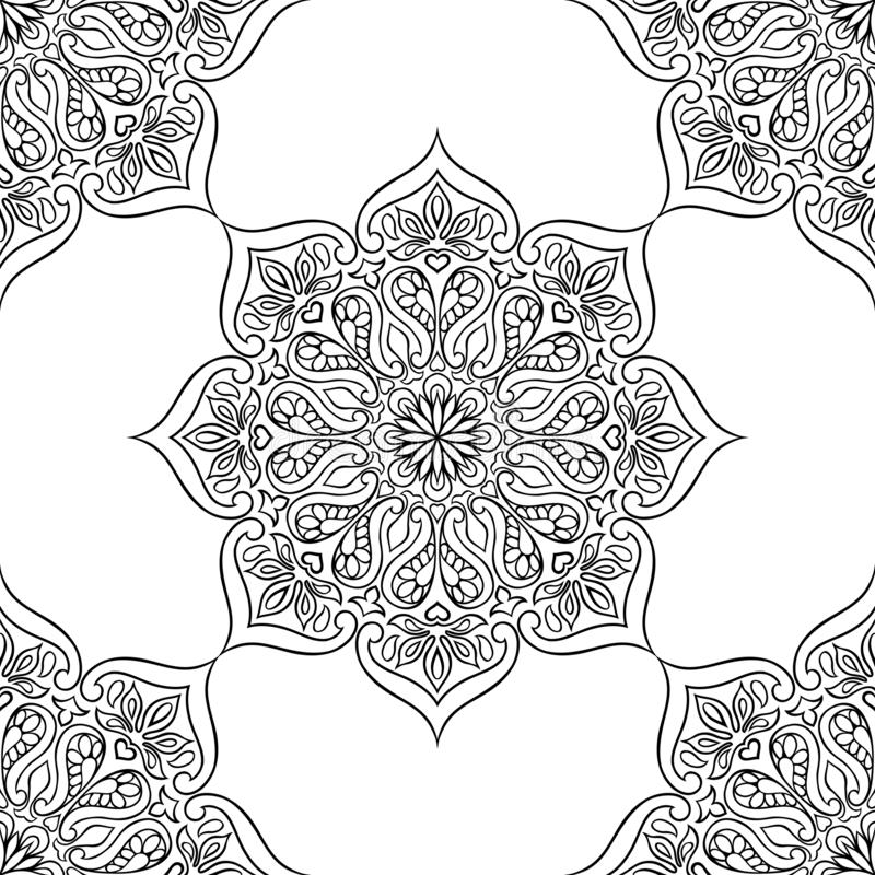 Indisch sier naadloos patroon Etnische volksmandala vector illustratie