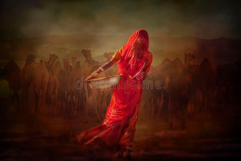 Indisch stammenmeisje van Pushkar stock fotografie